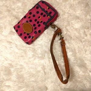 5/$25 Fossil Polka Dot Wristlet Keychain Wallet
